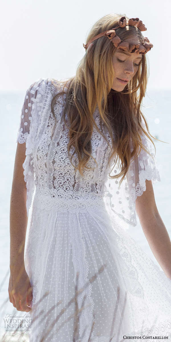 christos costarellos bridal spring 2016 romantic bohemian lace wedding dress flutter sleeves guipure dotted net bodice close up