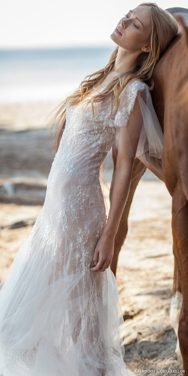 christos costarellos bridal spring 2016 romantic bohemian wedding dress pretty illusion flutter sleeves