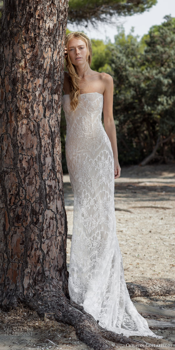 christos costarellos bridal spring 2016 strapless wedding dress lace beading