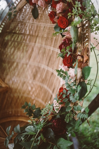 Flower adorned chair | Jessi Field Photography | see more on: http://burnettsboards.com/2015/11/stylish-elopement-wedding/