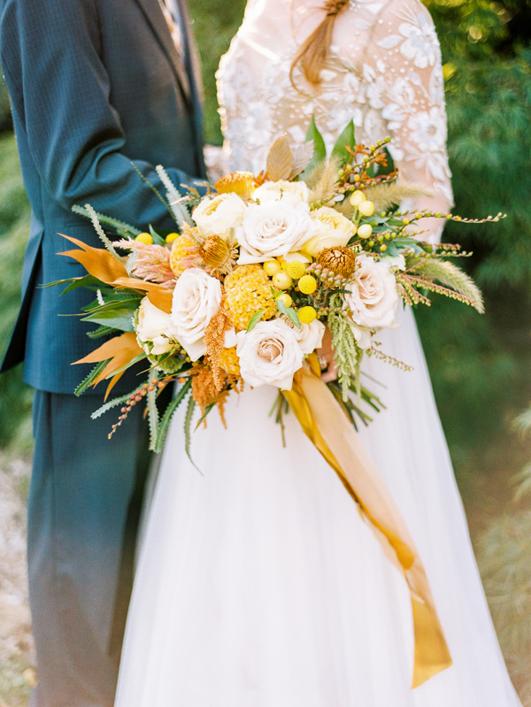 yellow bouquet - photo by Love by Serena http://ruffledblog.com/copper-and-slate-autumn-inspiration-shoot