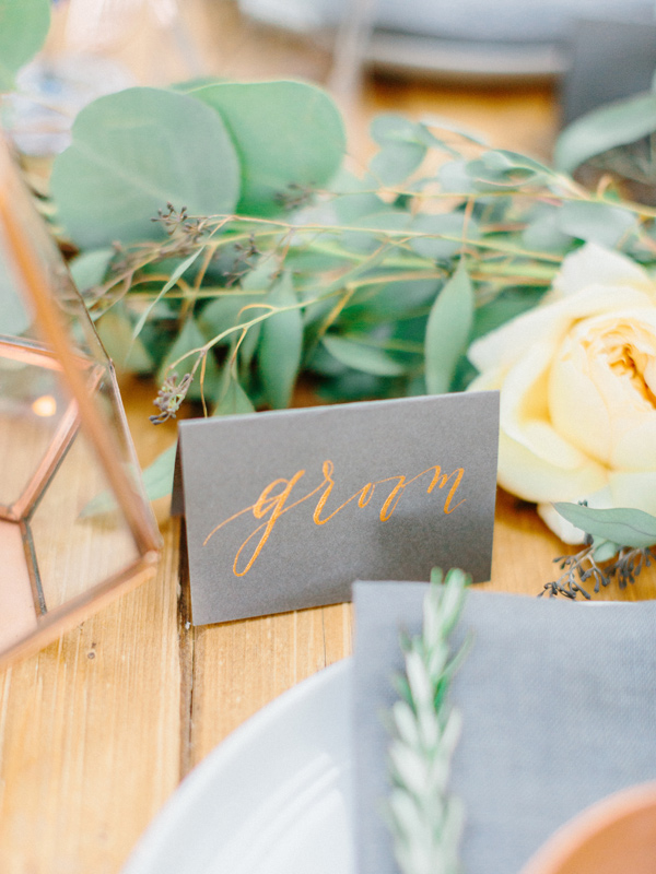 place card - photo by Love by Serena http://ruffledblog.com/copper-and-slate-autumn-inspiration-shoot