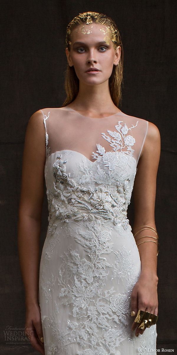 limor rosen bridal 2016 treasure charlotte sleeveless wedding dress illusion neckline beaded applique close up bodice