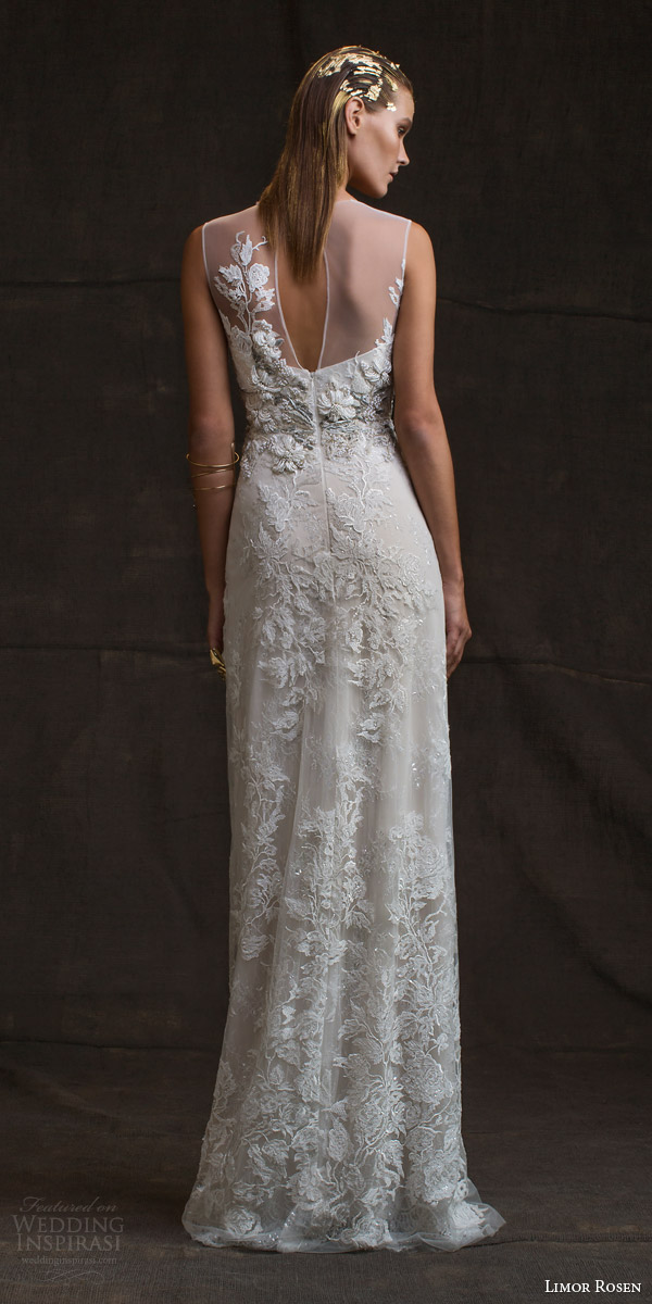 limor rosen bridal 2016 treasure charlotte sleeveless wedding dress illusion neckline beaded applique keyhole back