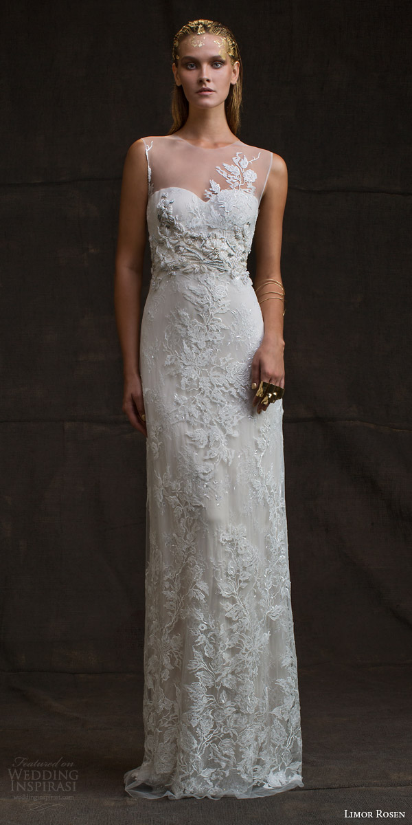limor rosen bridal 2016 treasure charlotte sleeveless wedding dress illusion neckline beaded applique