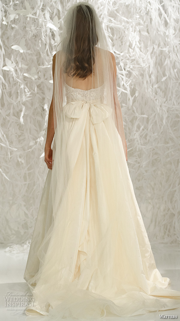 watters brides spring 2016 bridal strapless sweetheart neckline lace appliques beaded bodice a line wedding dress style taryn bustier