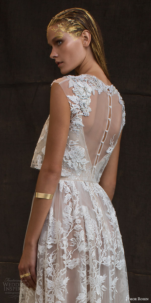 limor rosen bridal 2016 treasure grace wedding dress lace floral cap sleeve crop top blush tulle knee length skirt pretty illusion back close up embellished shoulders
