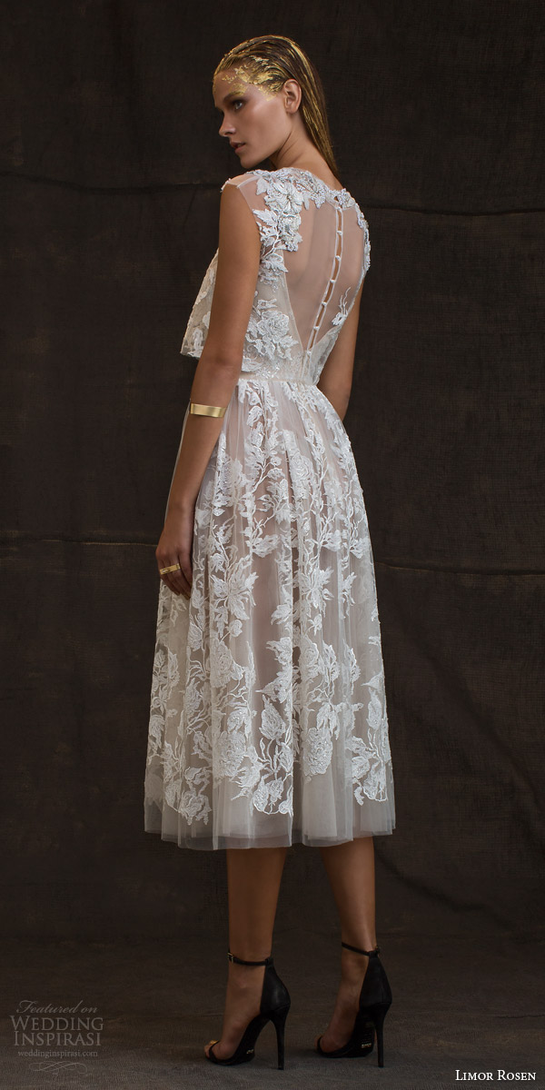 limor rosen bridal 2016 treasure grace wedding dress lace floral cap sleeve crop top blush tulle knee length skirt pretty illusion back