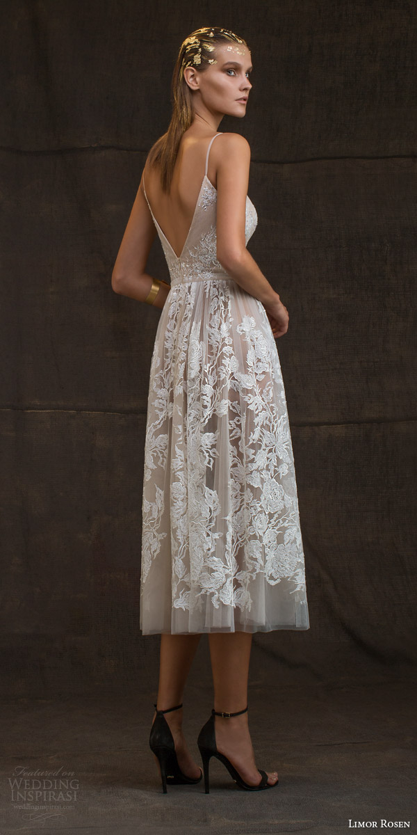 limor rosen bridal 2016 treasure grace wedding dress sleeveless spaghetti straps lace floral blush tulle knee length skirt low back view