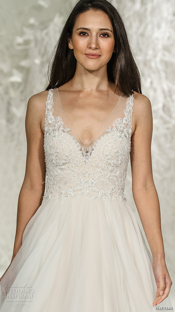 watters brides spring 2016 bridal v neckline beaded embroidered applique bodice beautiful a line ballgown wedding dress style janet