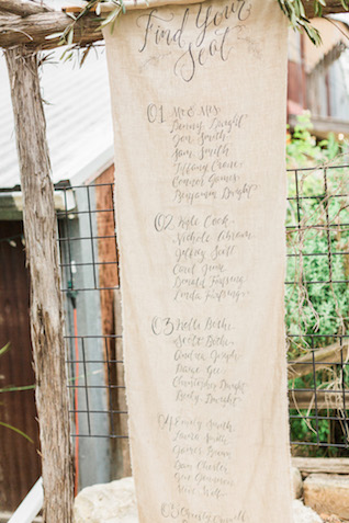 Calligraphy on linen seating chart | Sharon Nicole Photography | see more on: http://burnettsboards.com/2015/11/modernly-rustic-texas-hill-country-wedding/