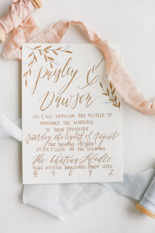 Gold calligraphy wedding invitation | Ivy & Stone Photography | see more on: http://burnettsboards.com/2015/11/world-european-romance-themed-wedding/