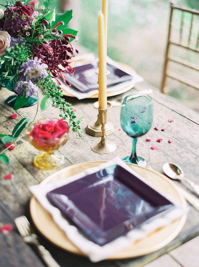 Jewel-toned place setting | Julie Paisley Photography and Cedarwood Weddings | see more on: http://burnettsboards.com/2015/11/rustic-jewel-toned-wedding/