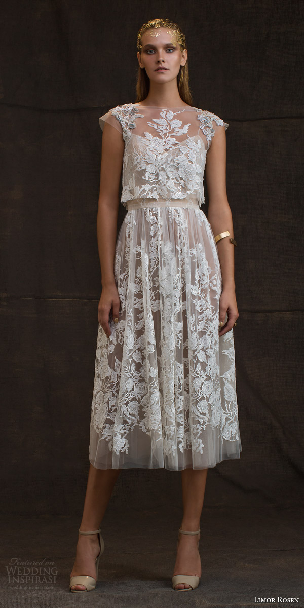 limor rosen bridal 2016 treasure grace wedding dress lace floral cap sleeve crop top blush tulle knee length skirt