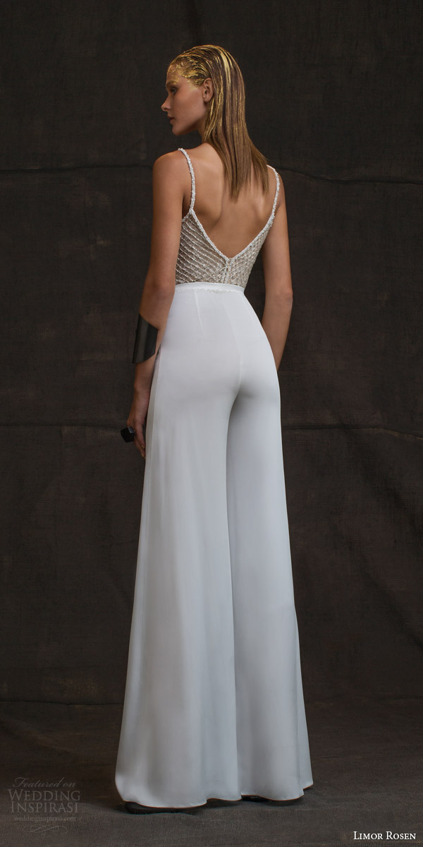limor rosen wedding dresses 2016 treasure bridal collection louisa pant suit sleeveless beaded straps back view
