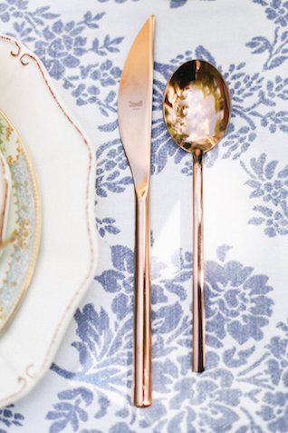 Brass cutlery | Ivy & Stone Photography | see more on: http://burnettsboards.com/2015/11/world-european-romance-themed-wedding/