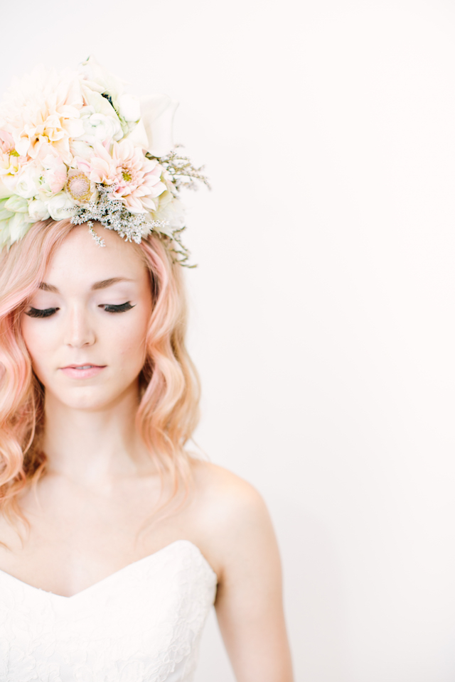 Unique flower crown | Canary Grey and a&bé bridal boutique | see more on: http://burnettsboards.com/2015/11/incredible-wedding-dresses/