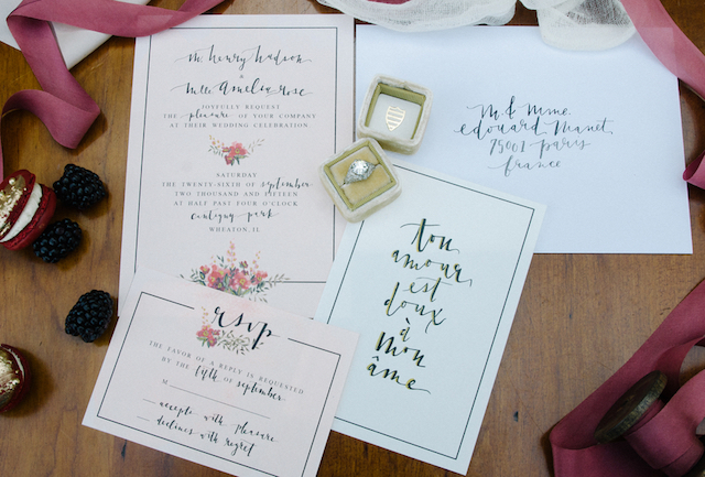 Calligraphy wedding invitations | Tulip + Rose Photography | see more on: http://burnettsboards.com/2015/11/manets-luncheon-grass-wedding-inspiration/