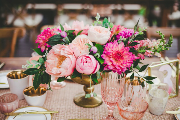 rich pink centerpiece - photo by Katie Nicolle Photography http://ruffledblog.com/romantic-intimate-styled-shoot