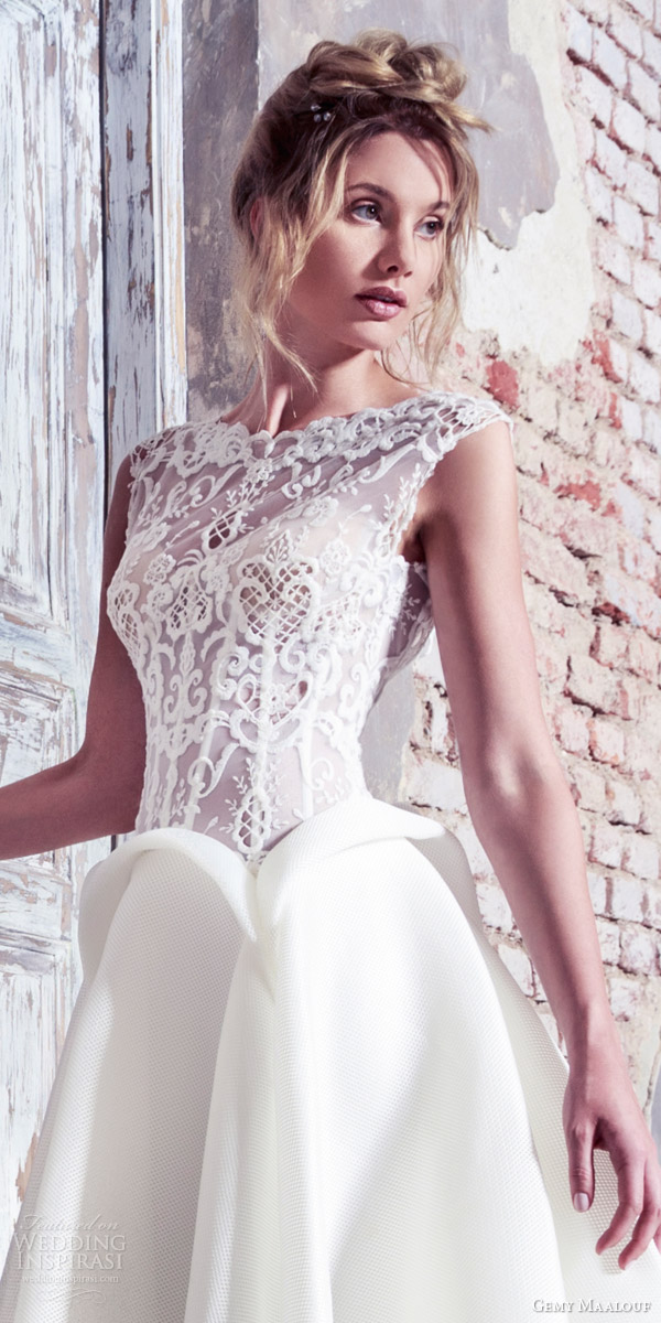 gemy maalouf bridal 2016 unconventional cap sleeve lace bodice ball gown wedding dress peplum close up