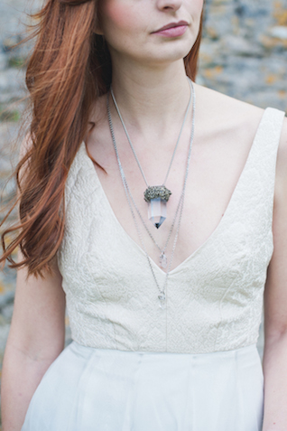 Quartz necklace | Laura Power Photography and @thewedbazaar | see more on: http://burnettsboards.com/2015/12/gem-themed-wedding-castle/