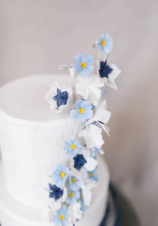 Blue wedding cake with hand-painted sugar flowers | V.A. Photography | see more on: http://burnettsboards.com/2015/12/eastern-shore-wedding/