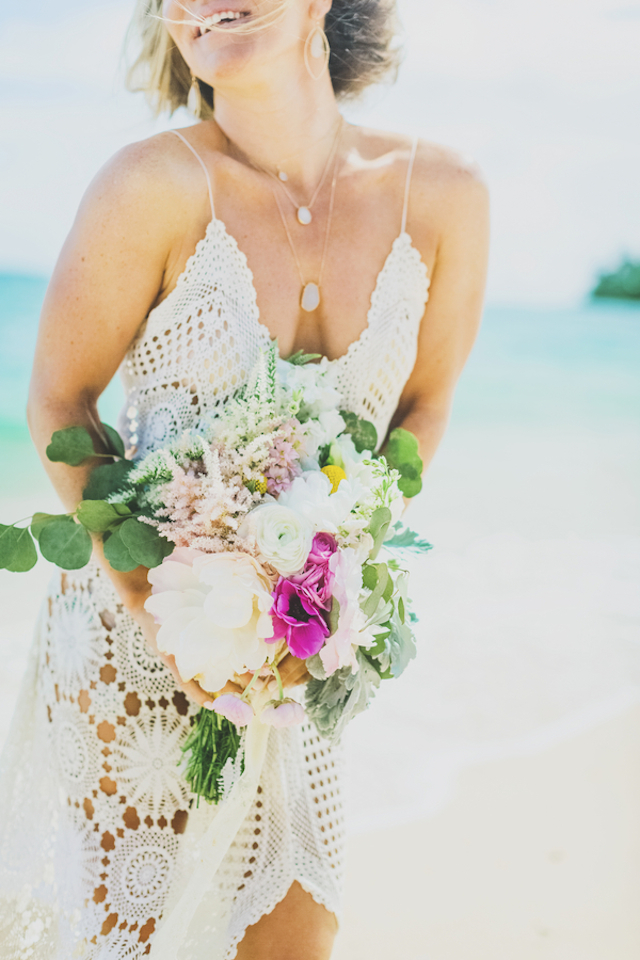 Boho beach crochet wedding dress | Angie Diaz Photography | see more on: http://burnettsboards.com/2015/12/boho-glam-beach-anniversary-shoot-maui/