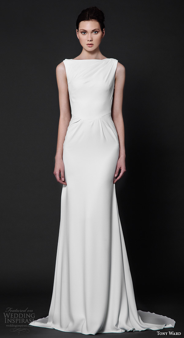 tony ward 2016 bridal bateau neckline sleeveless clean chic sheath wedding dress aster