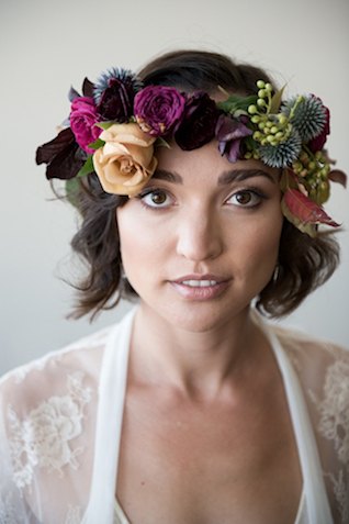 Flower crown with thistles | Cari Courtright Photography | see more on: http://burnettsboards.com/2015/12/vintage-glam-bridal-boudoir/