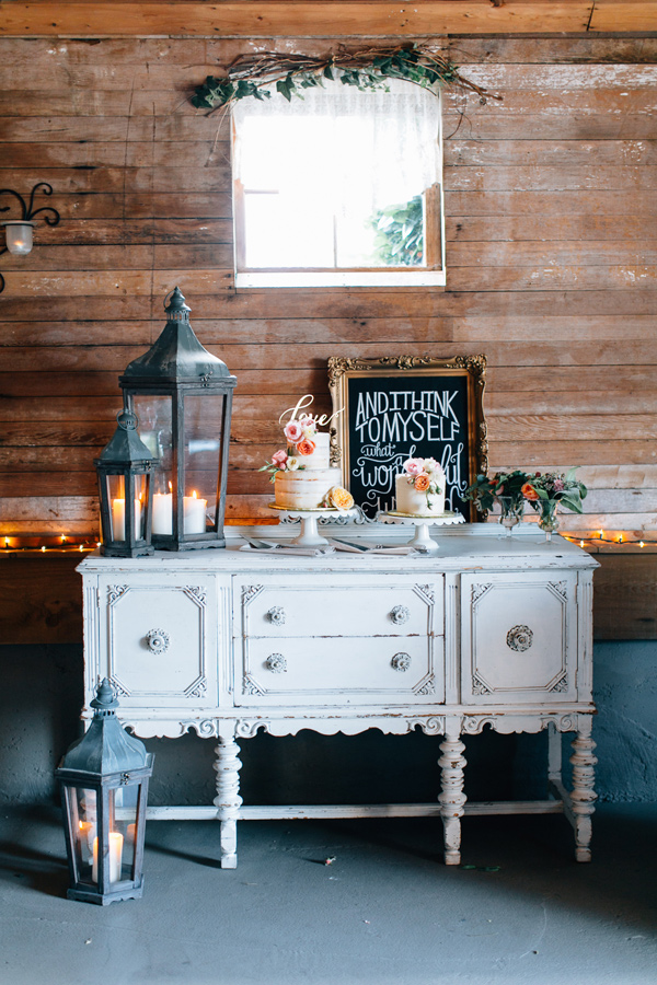 cake table - photo by Lora Grady Photography http://ruffledblog.com/fairytale-cottage-wedding-at-craven-farm
