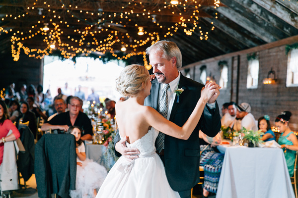 father daughter dance - photo by Lora Grady Photography http://ruffledblog.com/fairytale-cottage-wedding-at-craven-farm