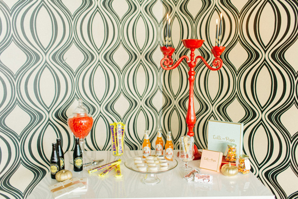 candy table - photo by Emily Sacco http://ruffledblog.com/glam-holiday-wedding-inspiration