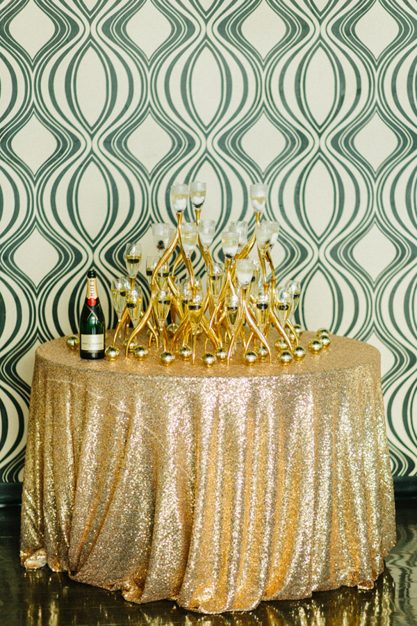 champagne tower - photo by Emily Sacco http://ruffledblog.com/glam-holiday-wedding-inspiration
