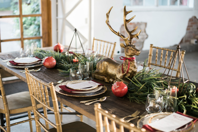 Christmas tablescape | Stephanie Ramsey and Melissa Malouf | see more on: http://burnettsboards.com/2015/12/christmas-wedding-ideas/