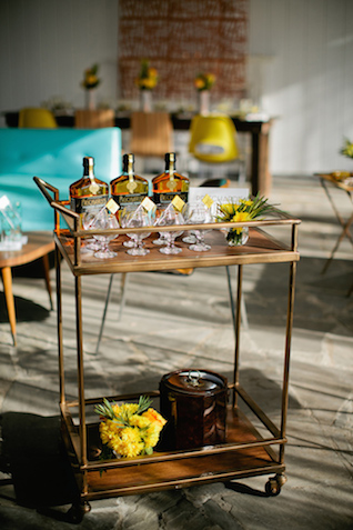 Bourbon tasting bar | Kristyn Hogan and Cedarwood Weddings | see more on: http://burnettsboards.com/2015/12/yellow-metallic-mod-wedding/
