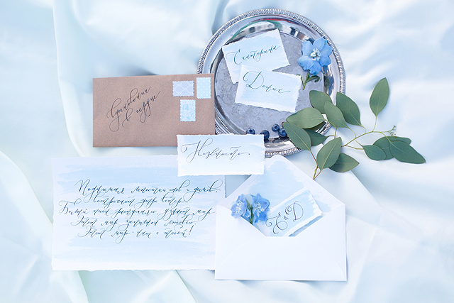 Sky blue wedding invitations | Stasya Dementyeva Photography | see more on: http://burnettsboards.com/2015/12/sky-inspired-engagement/