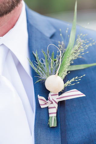 Beet boutonniere | Chris Loring Photography | see more on: http://burnettsboards.com/2015/12/roots-shoot-an-elegant-organic-farm-wedding/