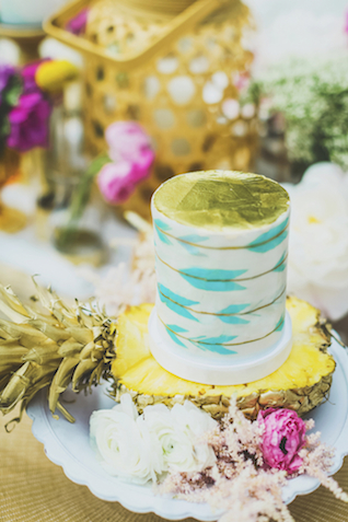 Pineapple cake stand | Angie Diaz Photography | see more on: http://burnettsboards.com/2015/12/boho-glam-beach-anniversary-shoot-maui/