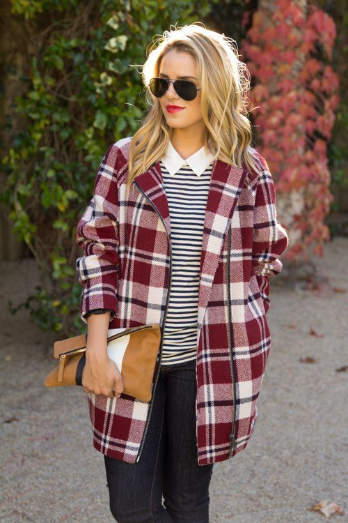 cute outfits with plaid coats 1