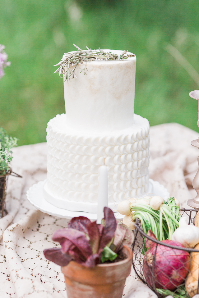 All white wedding cake | Chris Loring Photography | see more on: http://burnettsboards.com/2015/12/roots-shoot-an-elegant-organic-farm-wedding/
