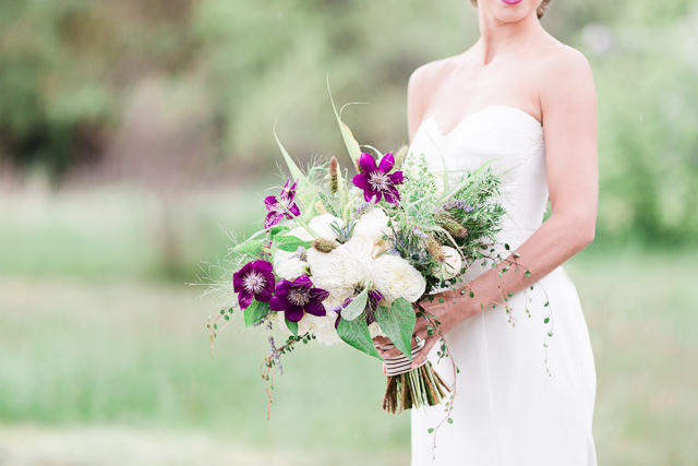 Purple, white, and green bridal bouquet | Chris Loring Photography | see more on: http://burnettsboards.com/2015/12/roots-shoot-an-elegant-organic-farm-wedding/