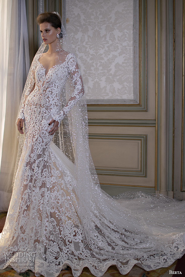 berta fall 2016 bridal gorgeous beautiful lace embroidered mermaid wedding dress long sleeves scoop neckline cathedral train