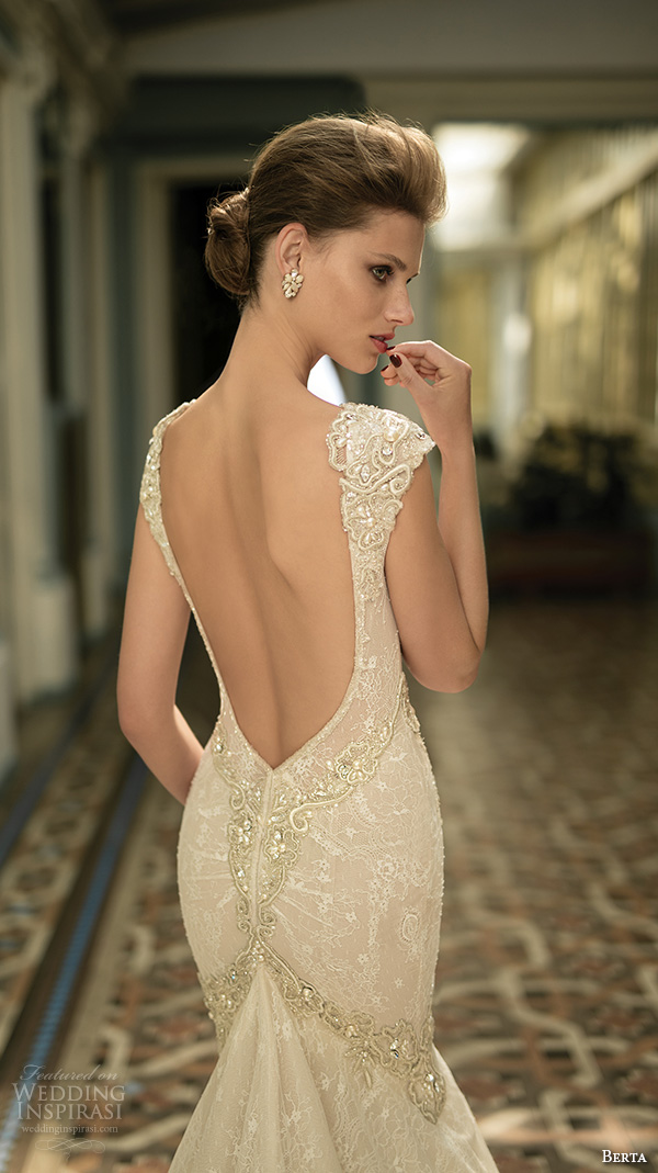 berta fall 2016 bridal gorgeous cap sleeveless deep v plunging neckline fit to flare trumpet mermaid wedding dress cathedral train