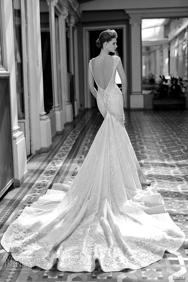 berta fall 2016 bridal gorgeous cap sleeveless deep v plunging neckline fit to flare trumpet mermaid wedding dress cathedral train back view