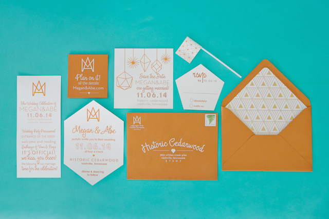 Geometric Mod wedding invitations | Kristyn Hogan and Cedarwood Weddings | see more on: http://burnettsboards.com/2015/12/yellow-metallic-mod-wedding/