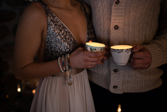 Candles in teacups | Lovely Peonies Photography | see more on: http://burnettsboards.com/2015/12/cozy-winter-wedding-knit-details/