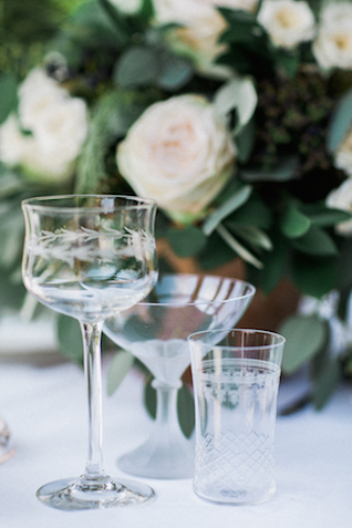 Etched glassware | Bowtie and Belle Photography | see more on: http://burnettsboards.com/2015/12/grecian-garden-wedding-inspiration/