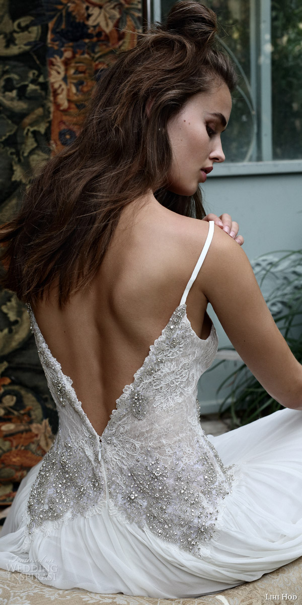 lihi hod bridal 2016 romantic tuscany wedding dress sleeveless embellished lace bodice spaghetti straps back view