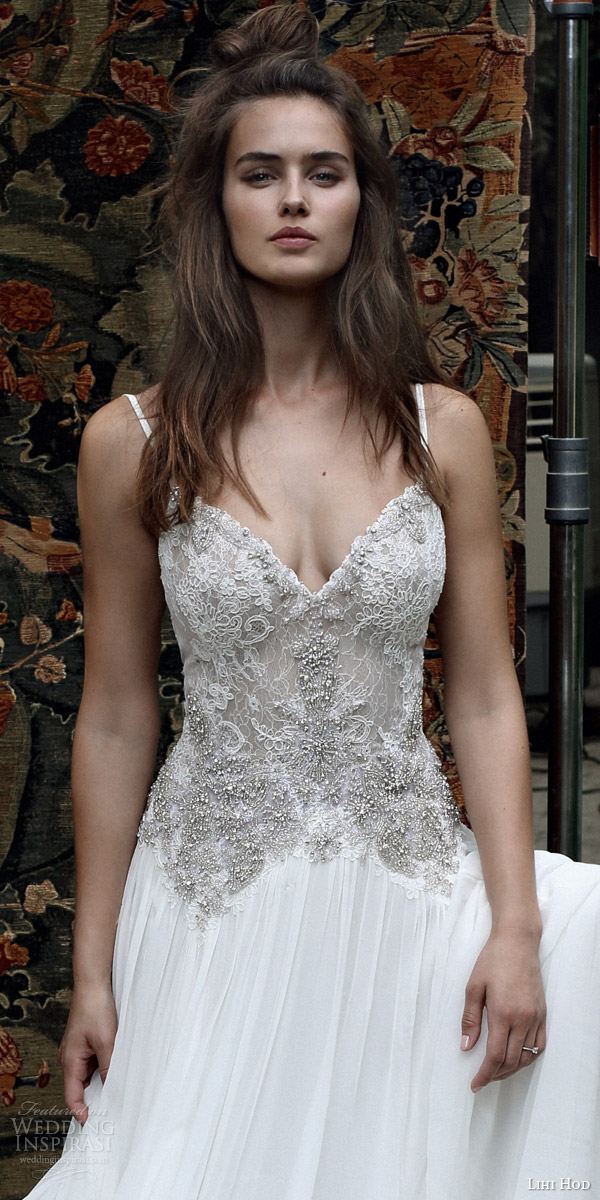 lihi hod bridal 2016 romantic tuscany wedding dress sleeveless embellished lace bodice spaghetti straps zoom