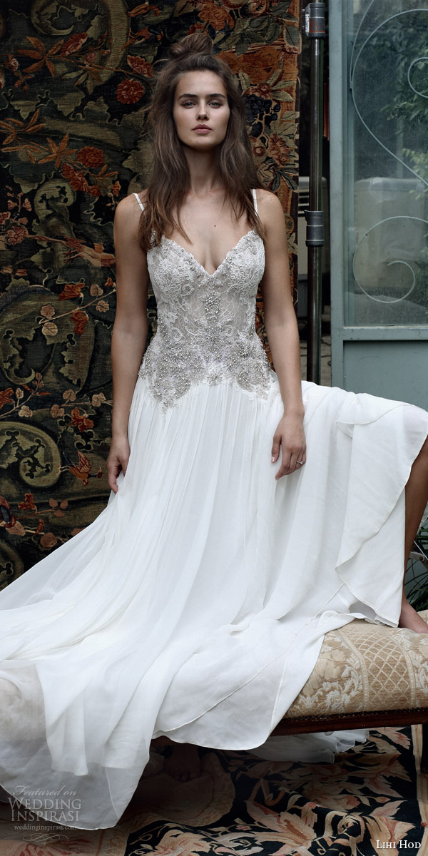 lihi hod bridal 2016 romantic tuscany wedding dress sleeveless embellished lace bodice spaghetti straps